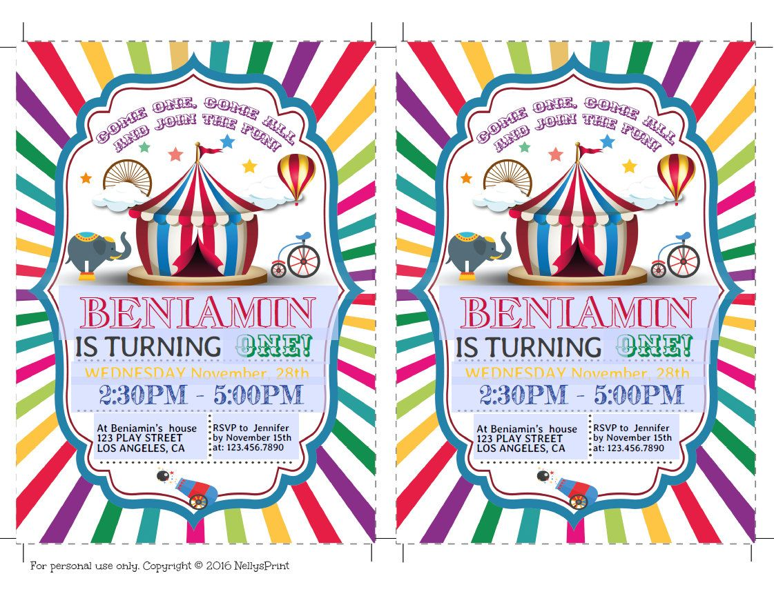 Circus Birthday Invitation Circus Party Invitation Circus Party