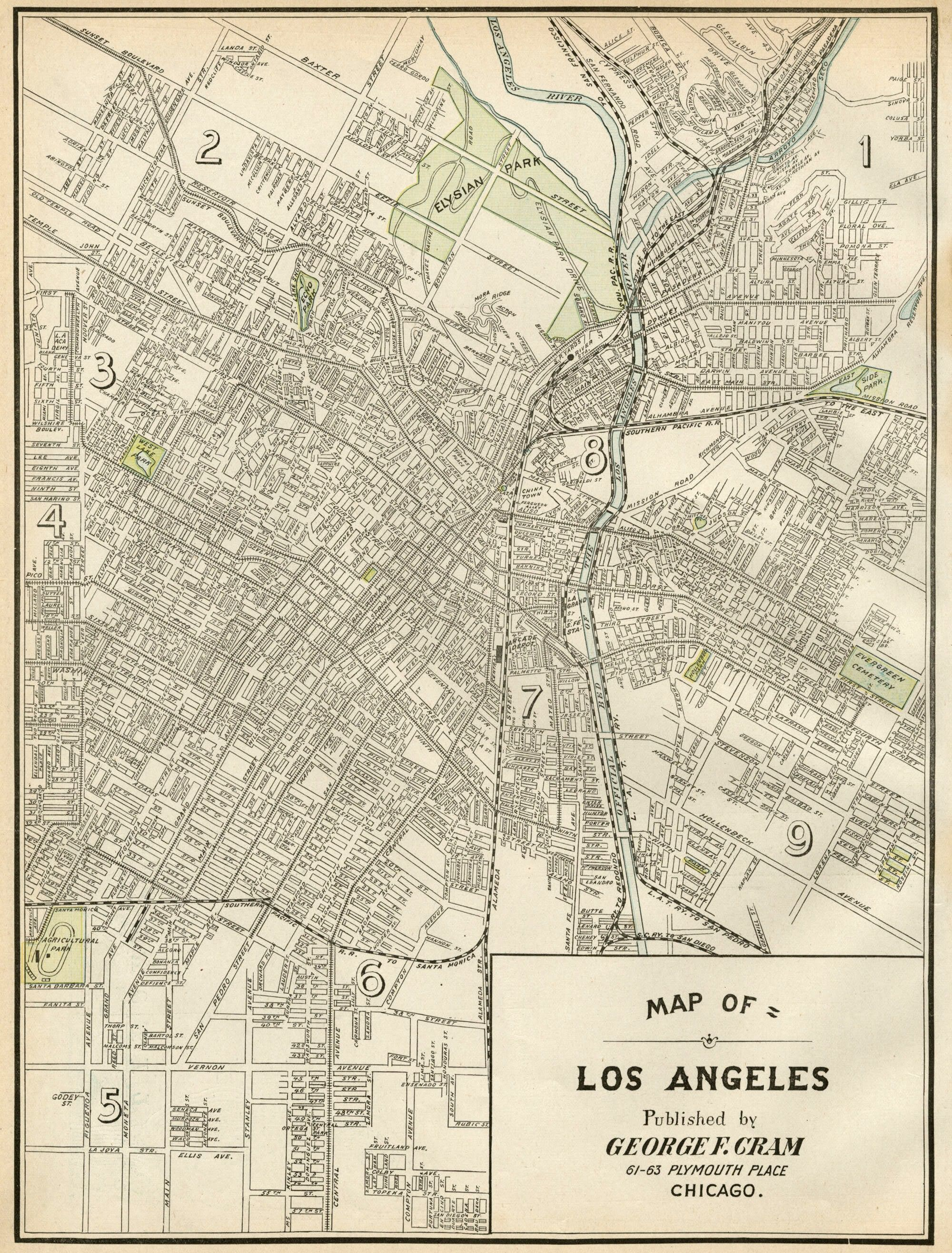 Map of Los Angeles from 1899 (right click to save as a high res image) :: This would be cool to transfer onto a project!