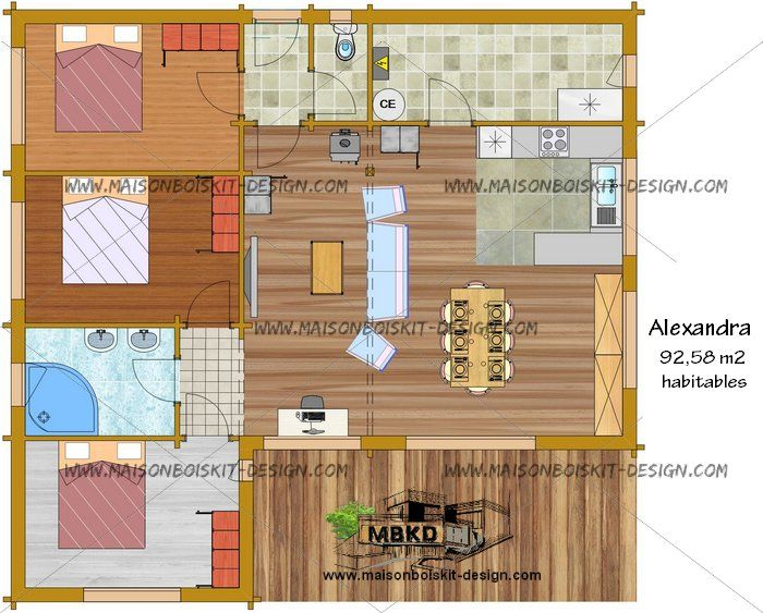 Plan de maison en bois contemporaine en kit de presque for Maison moderne 100m2