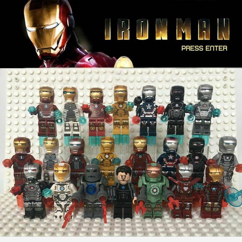 8pcs lot Super Heroes Iron Man tony-STARK mark minifigure lego minifigure