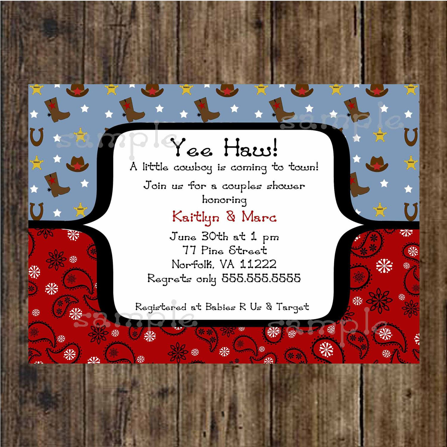 Cowboy Baby Shower Invitation / digital printable file / boy / print ...