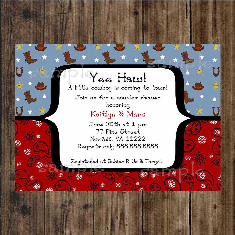 Cowboy Baby Shower Invitation / digital printable file / boy / print ...
