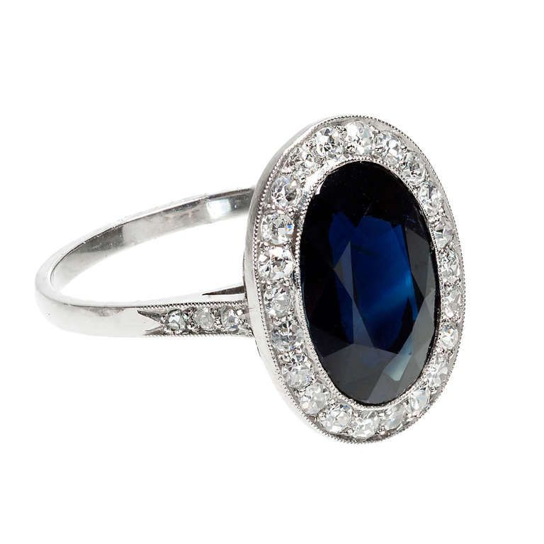 Cartier Royal Blue Sapphire And Diamond Platinum Ring Ca 1920s