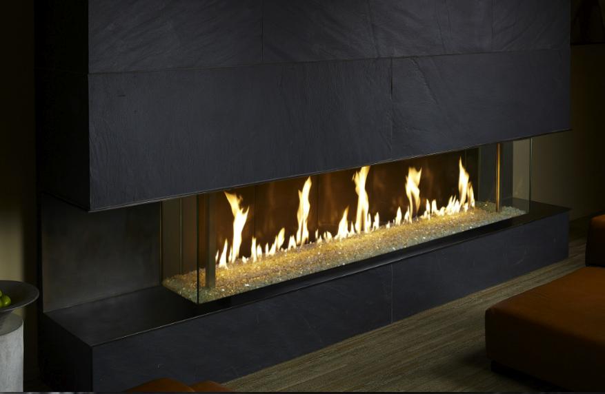 Davinci Custom Linear Bay Window Contemporary Gas Fireplace Restaurant Fireplace Fireplace Stores