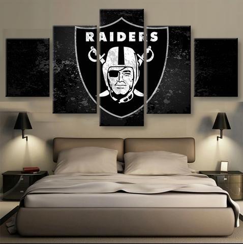 Oakland Raiders Nfl Football 5 Panel Canvas Wall Art Home Decor Raiders Football Oakland Raiders Football Football Canvas