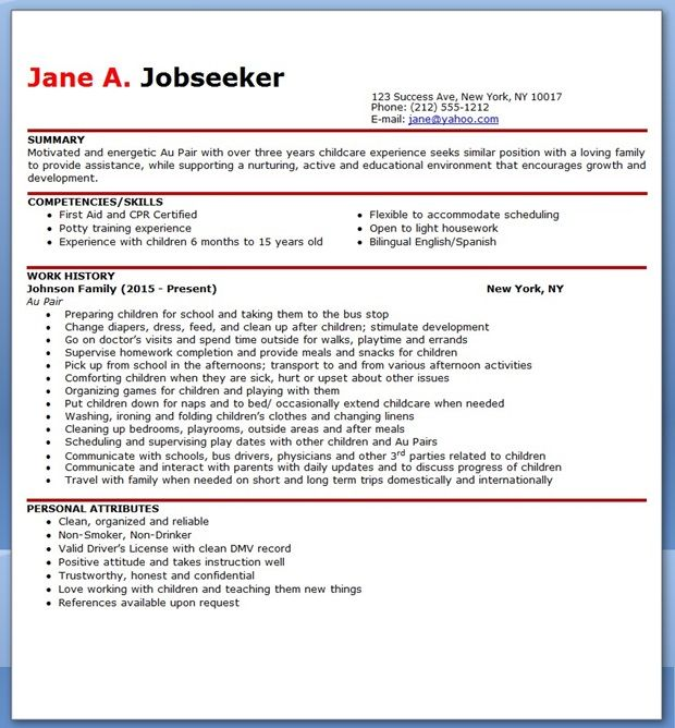 Au Pair Resume Sample Creative Resume Design Templates Word - resume competencies examples