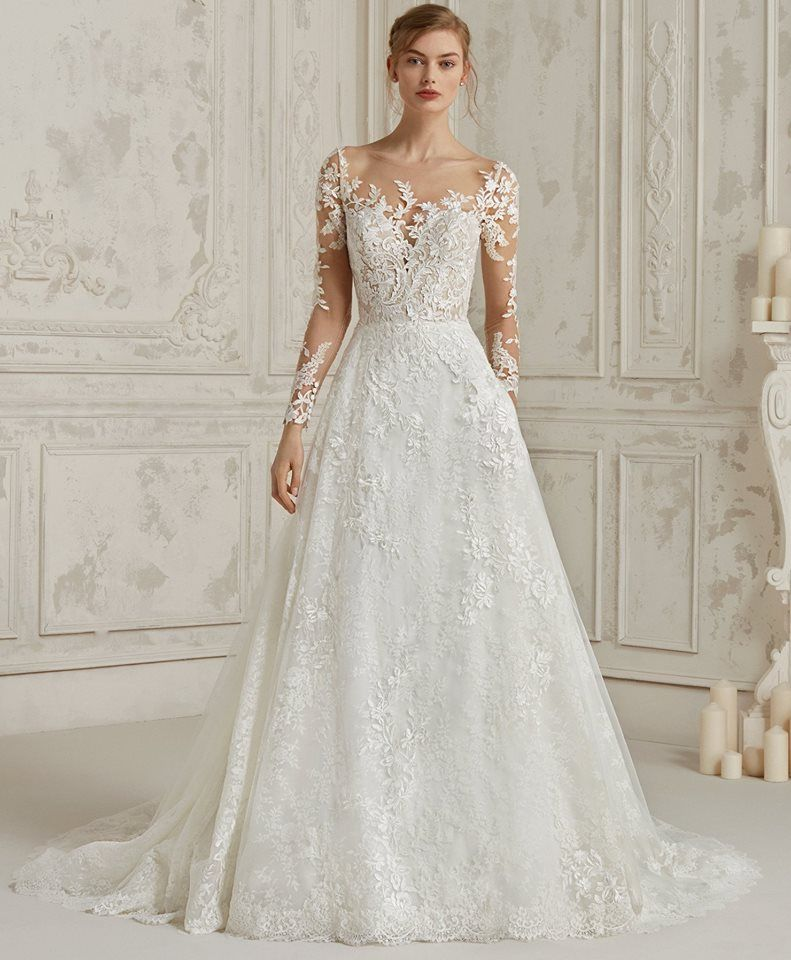 Dress Of The Week Pronovias A Romantic A Line Lace Wedding Dress With Tattoo Effect Long Sleeves And B A Line Wedding Dress Pronovias Bridal Bridal Dresses