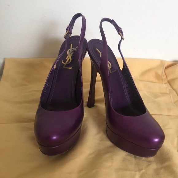 0b4886854fd YSL Shoes Yves Saint Laurent pumps have a open heel, a round toe, a ...
