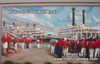 paducah ky flood wall murals | Paducah, KY, flood wall murals - steamboats on the Ohio river