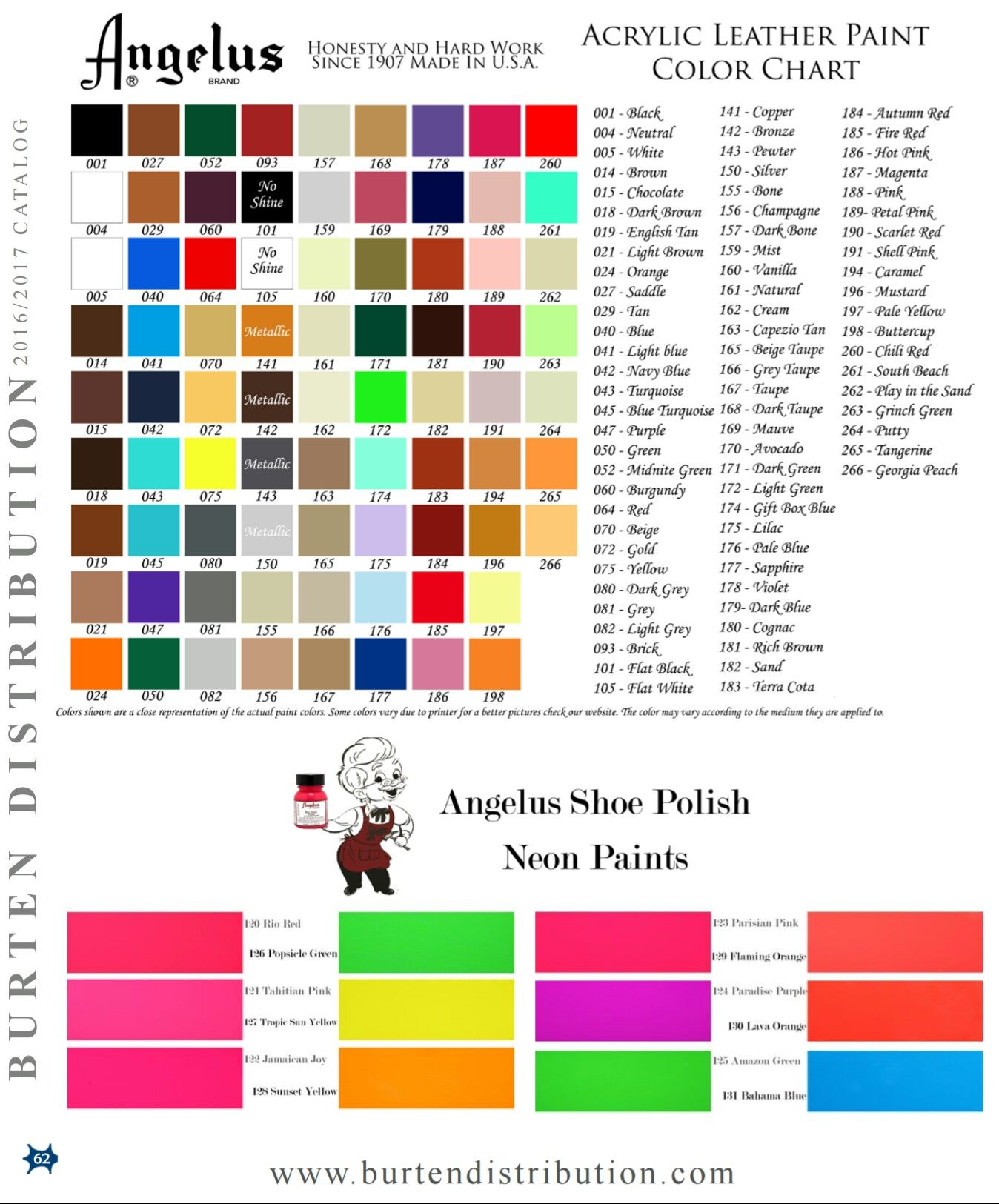 Angelus Color Chart Brand Colors Paint Brands Leather Paint
