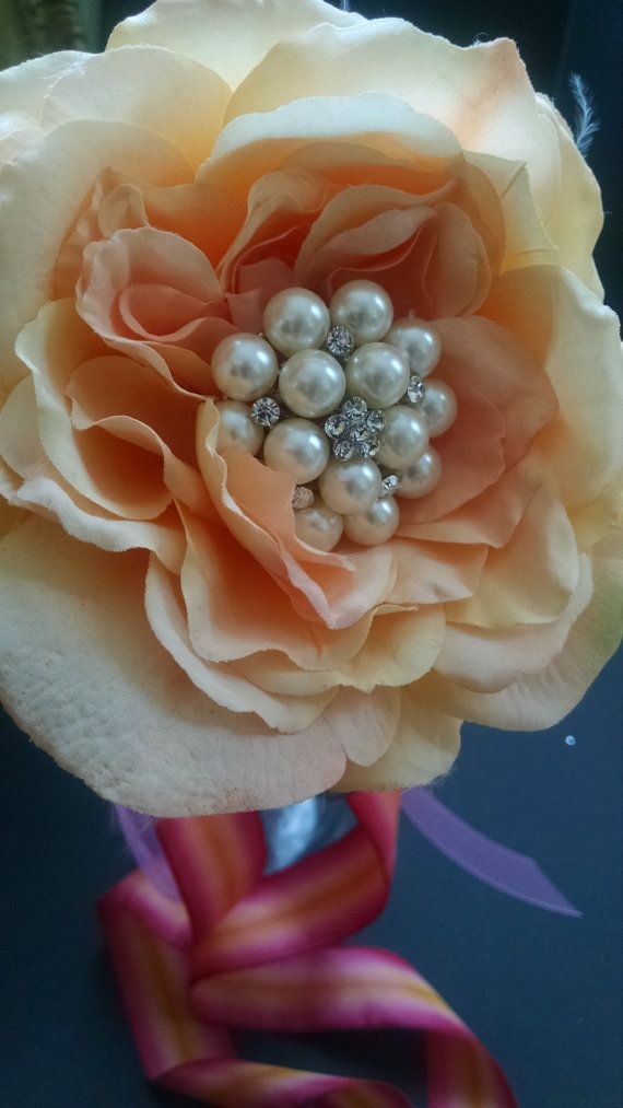 Peach Flower Girl Wand by BrocheBouquets on Etsy