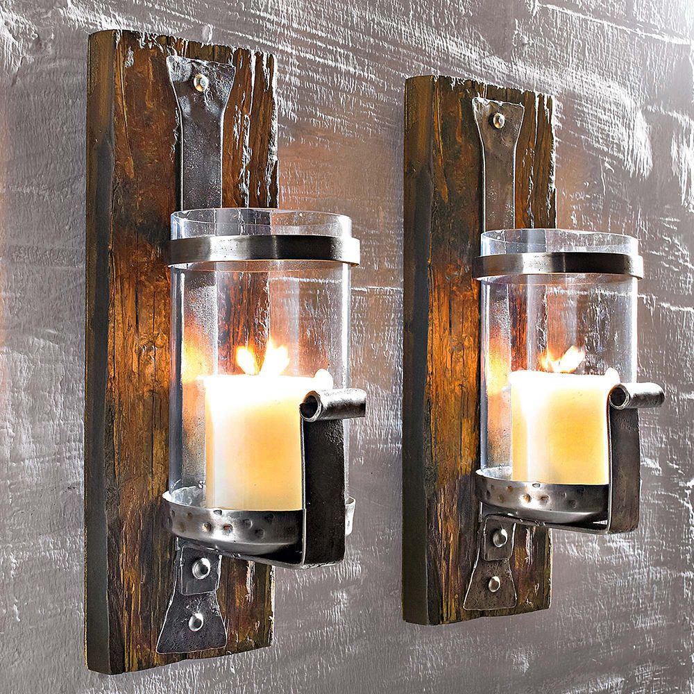 wand kerzenhalter wood wandkerzenhalter teelichthalter kerzenleuchter neu in m bel wohnen. Black Bedroom Furniture Sets. Home Design Ideas