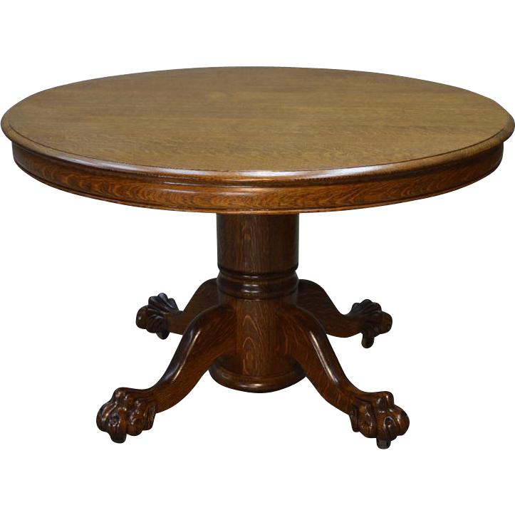 Antique round oak claw foot dining table 4 feet 2 for Dining table with two leaves