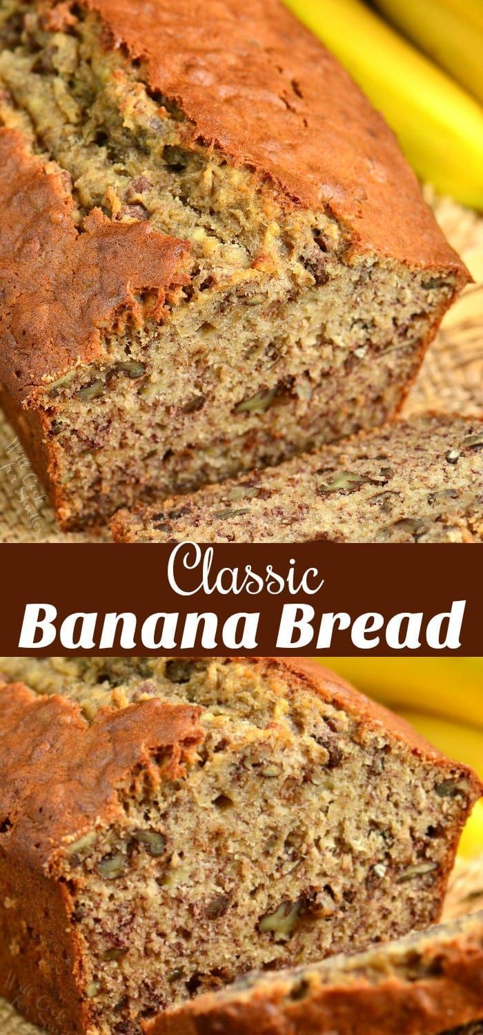 Classic Banana Bread recipe that takes only a few minutes to prepare and tastes amazing every time. #bread #banana #sweetbread #quickbread #bananabread #bananabreadbrownies