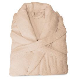 """Egyptian cotton bath robe with a matching belt and 2 front pockets.  Product: Robe Construction Material: 100% Egyptian cotton terry  Color: Taupe    Features: Detachable beltTwo front pocketsFoldable cuffs  Dimensions:   Small: 50"""" H x 52"""" W with a 71"""" belt  Medium: 51"""" H x 53"""" W with a 71"""" belt   Large: 52"""" H x 55"""" W with a 72"""" belt  Extra Large: 55"""" H x  63"""" W with a 72"""" belt     Cleaning and Care: Machine washable"""