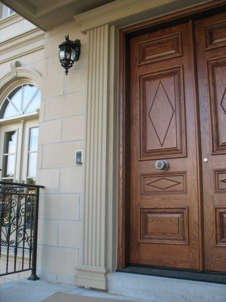 ... classical architectural wall detail meant to resemble the look of columns but in a flattened ornamental manner. Pilasters are often used to frame doors ... & A pilaster (pronounced \