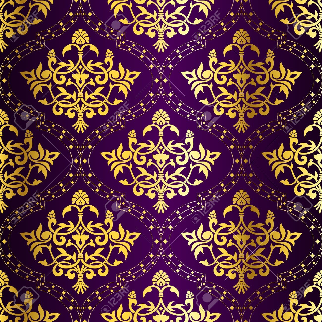 Purple And Gold Pattern Linen