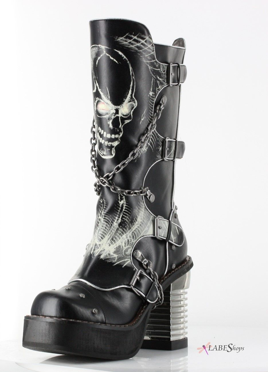 bb8d9e60efc7 Spawn Skull Womens Knee Boot by Hades Alternative MS-SPAWN Gothic Clothing