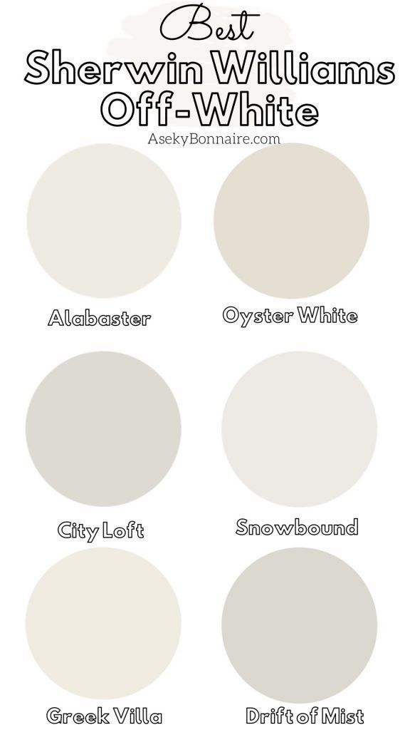 My Favorite Sherwin Williams Off White Paints | Off white paints, White paint colors, Off white pain