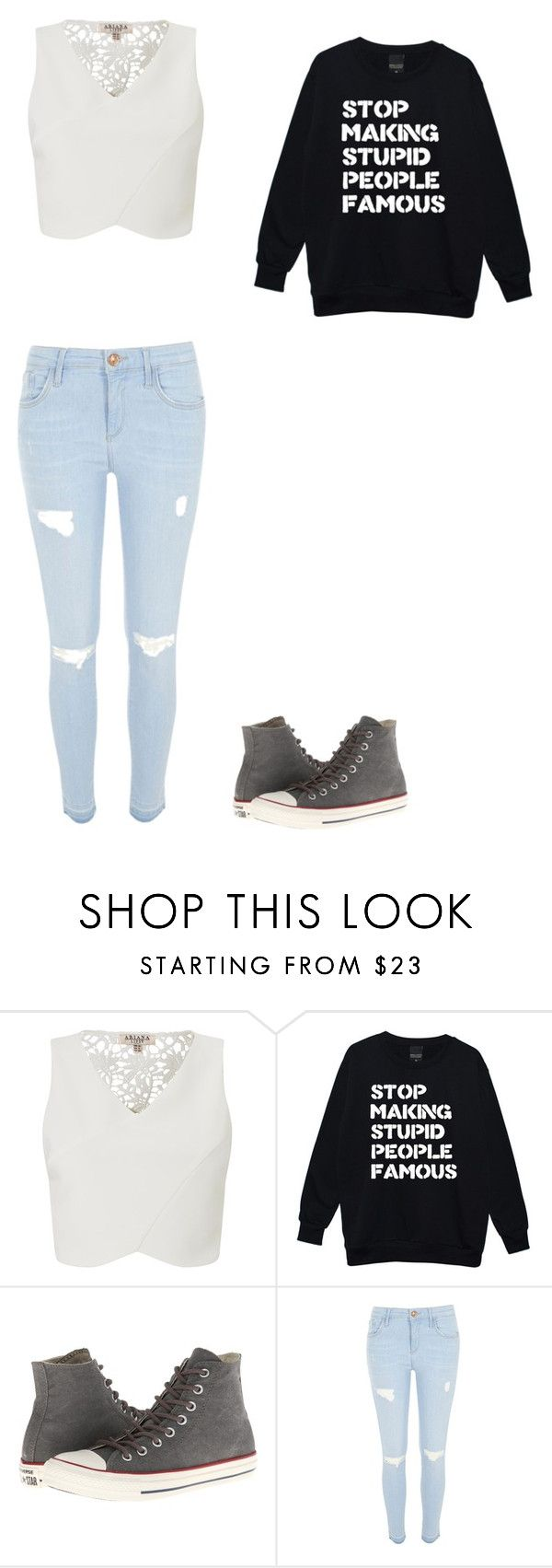 """If Being Famous Was A Crime, I'd Be The Most Wanted"" by phoenix1053 ❤ liked on Polyvore featuring Lipsy, Converse and River Island"