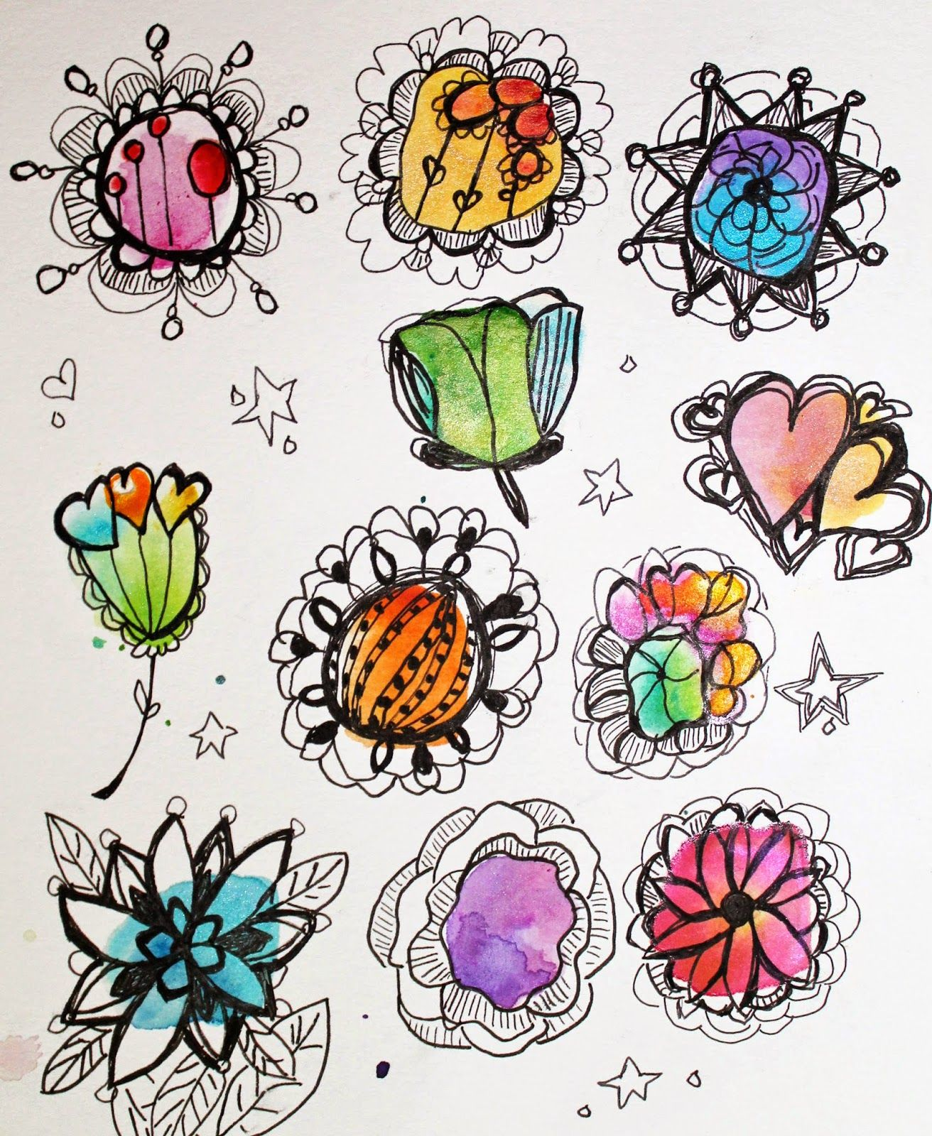 I prepared the watercolor blobs ahead of time and took them with on