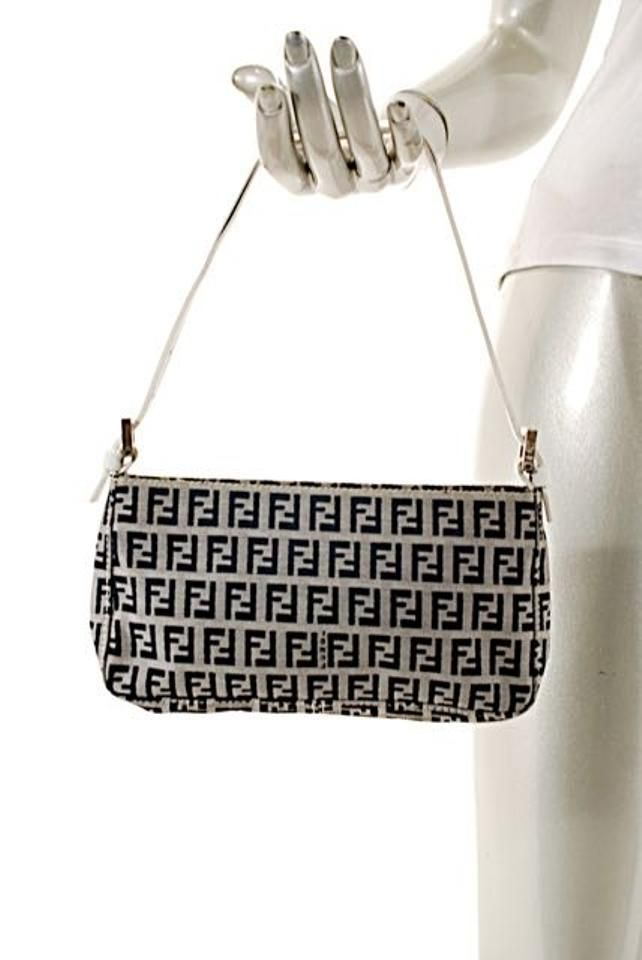 18114d8d15 Black/White Clutch/Shoulder Black & White Monogram Canvas Baguette ...