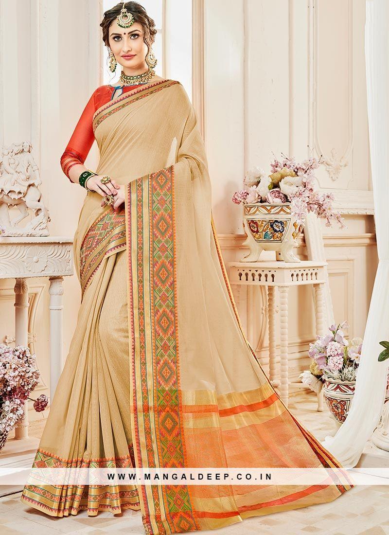 96254bc4cbf Party Wear Attractive Beige Color Designer Saree  beige  silk  saree ...