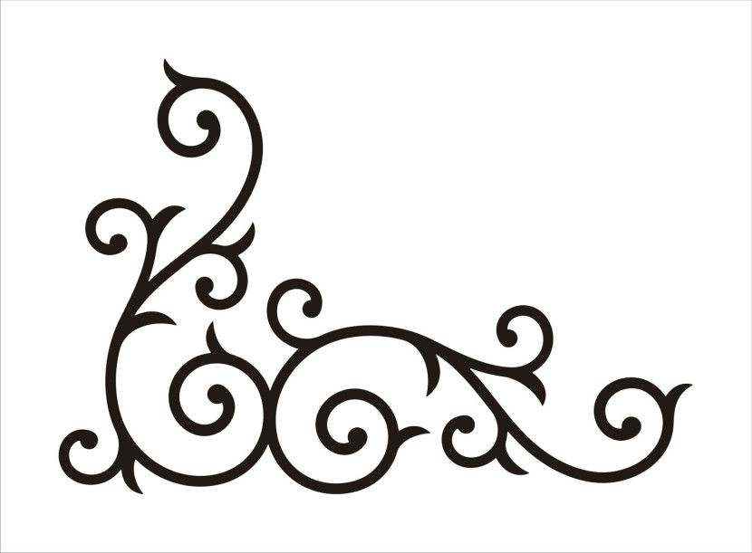 corner scroll design clipart