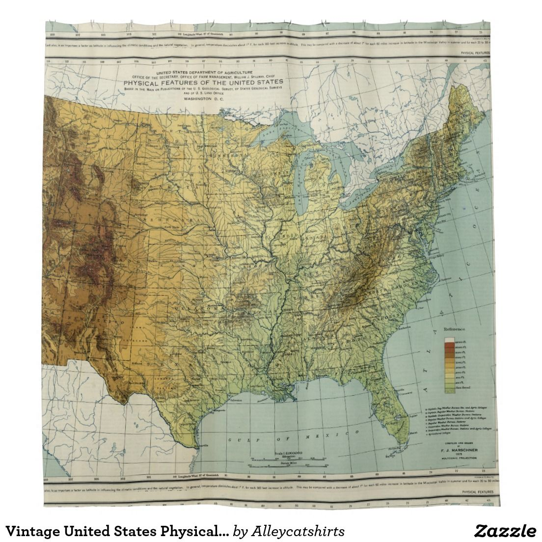 Vintage United States Physical Features Map (1915) Shower Curtain ...