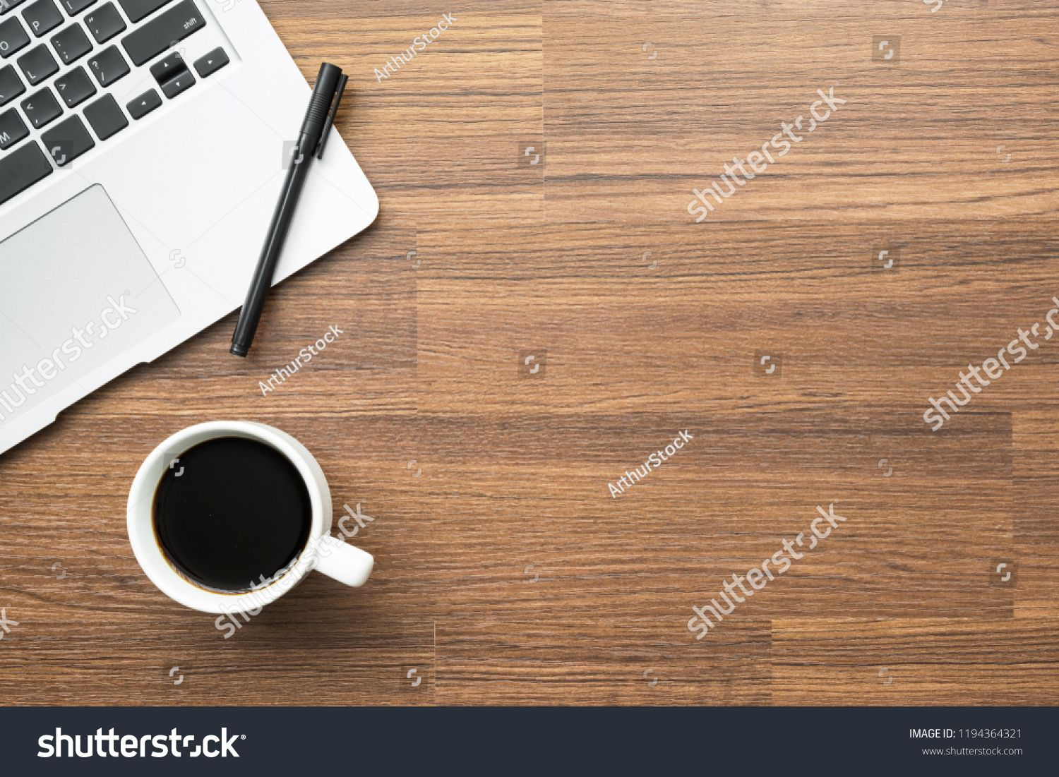 Wood Office Desk Table With Laptop Pen And Cup Of Coffee Top
