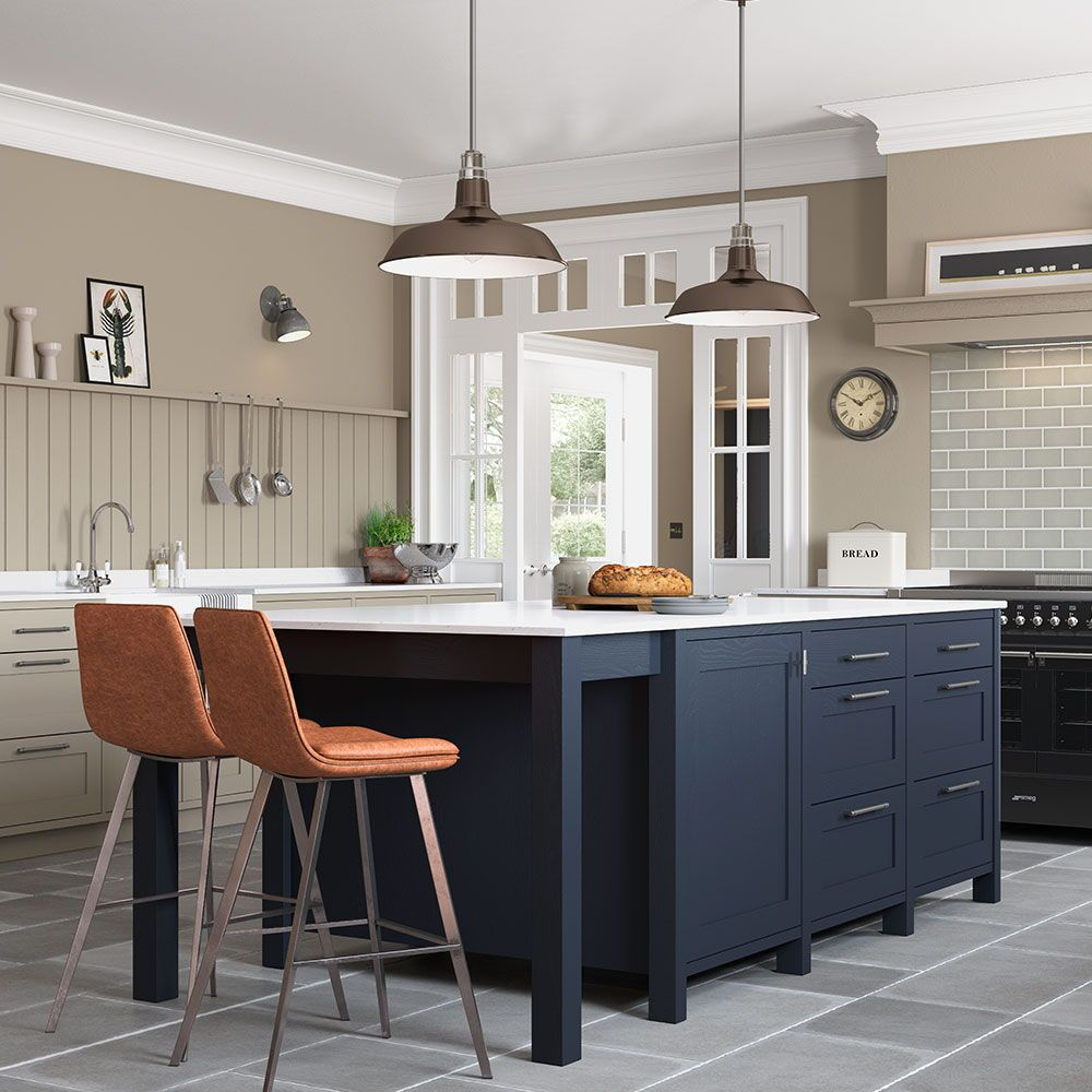 Beautiful Freestanding Kitchen Island In Oxford Blue With Images