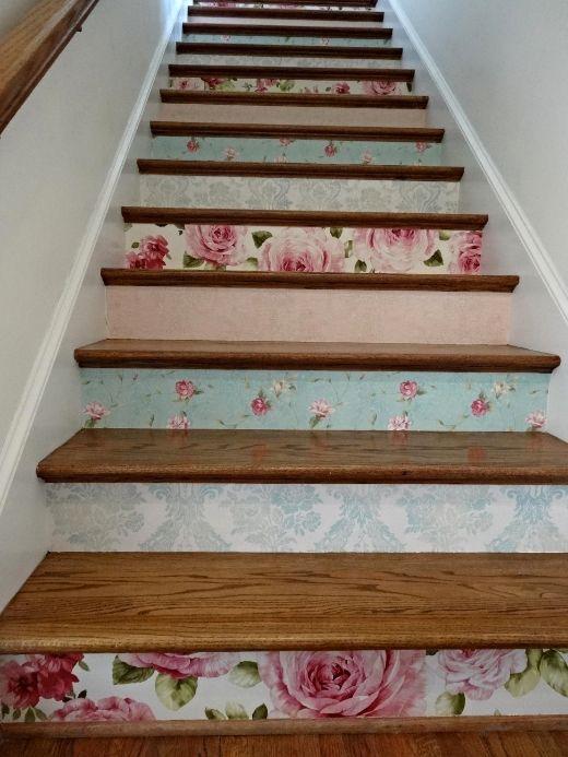 Diy Wallpapered Stair Risers Floral Pink Aqua Wallpaper