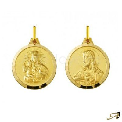 Medalla Escapulario en oro amarillo de 18kilates. Imagen de la Virgen del  Carmen y el