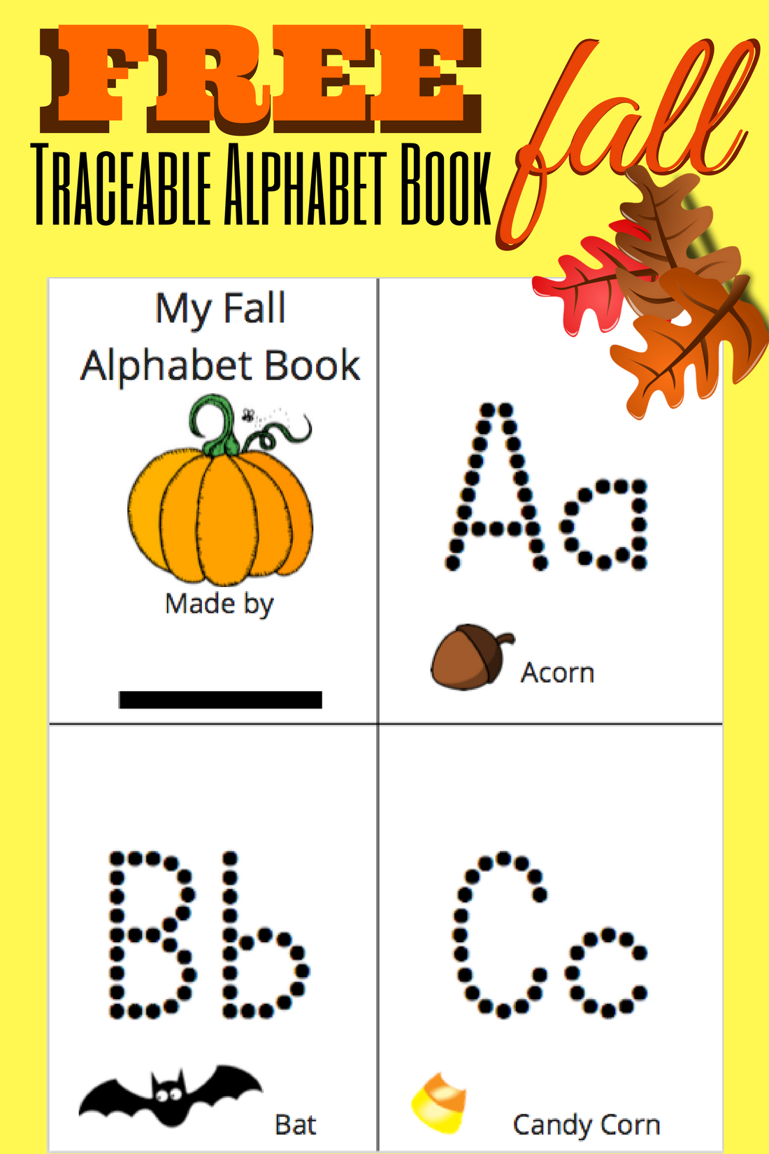 Traceable Alphabet Book Free Printable Fall Theme