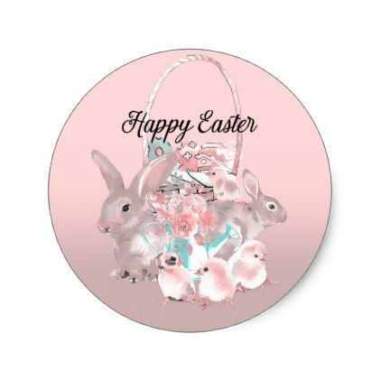 Pink brown easter egg hunt spring birthday party classic round pink brown easter egg hunt spring birthday party classic round sticker modern gifts cyo gift negle Gallery