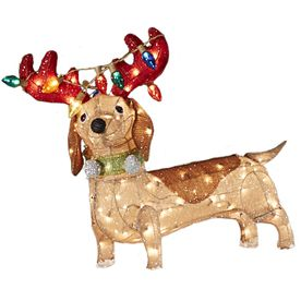 Holiday Living Lighted Dog Outdoor Christmas Decoration with White ...