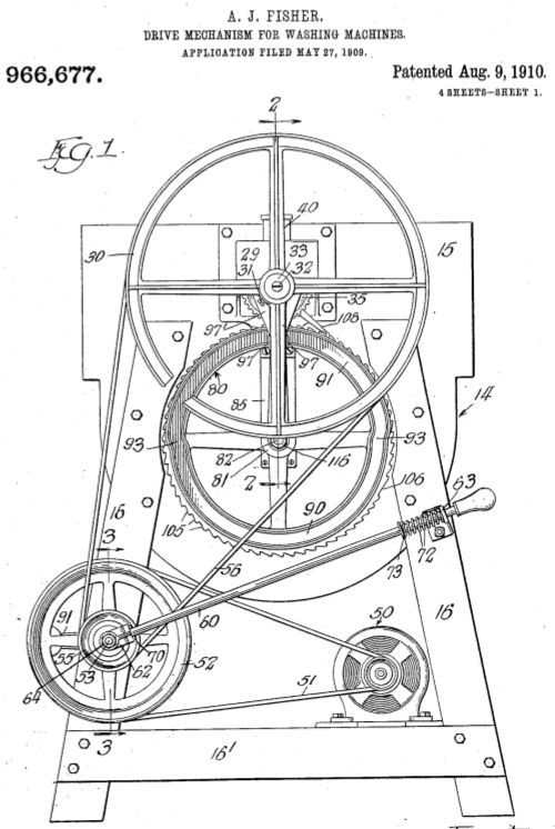 alva j fisher patent waschmaschine washing machine machine laver laveuse 1910. Black Bedroom Furniture Sets. Home Design Ideas