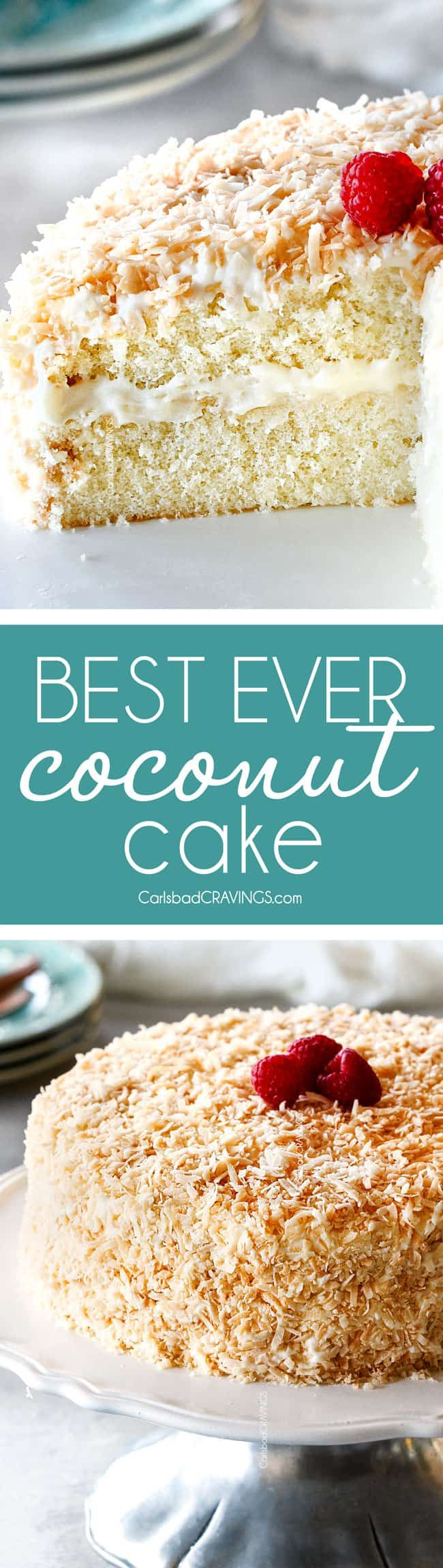 This Coconut Cake is a coconut lover's dream!  It isn't just a white cake with coconut frosting but is infused with 3 types of coconut, is sooo tender and moist and smothered in the luscious Coconut Cream Cheese Frosting for the Best Coconut Cake ever! via @carlsbadcraving