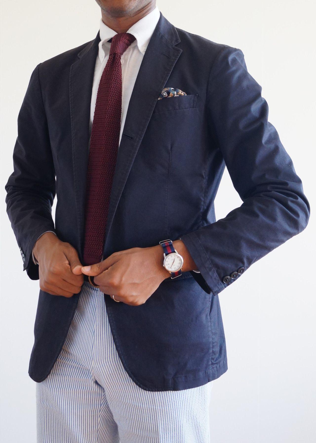 Navy Blazer White Ocbd Dark Red Knit Tie Seersucker Pants Herrin