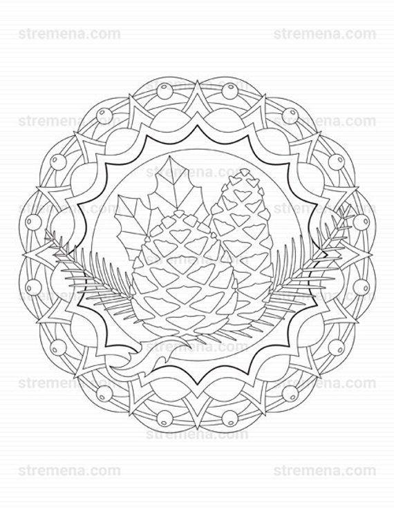 Christmas Pine Cone Ornaments Mandala Coloring Pages Etsy In 2021 Mandala Coloring Pages Christmas Coloring Sheets Mandala Coloring Books