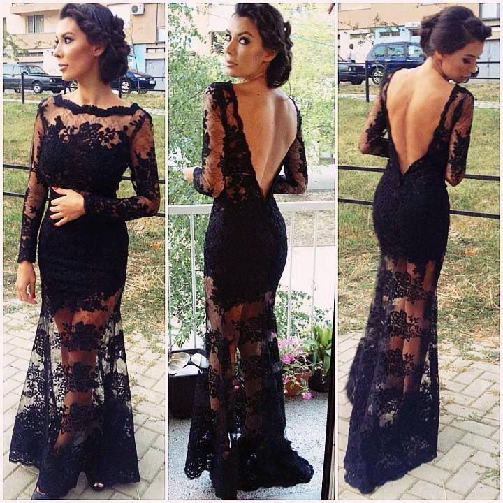 Sexy Black Lace Long Sleeve Backless Prom Dress Wedding Formal