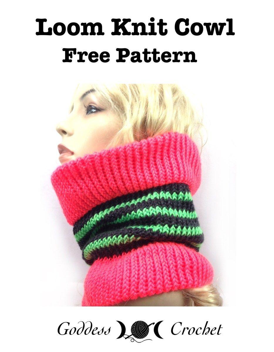 Free loom knitting pattern for a fun striped cowl | Knitting loom ...