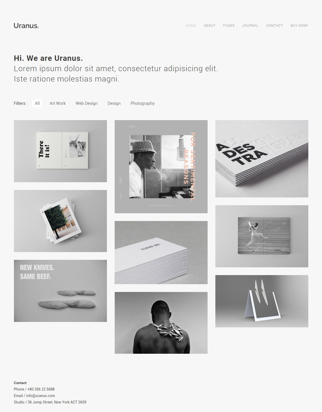 Uranus - Premium Responsive Minimal Portfolio HTML5 Template ...
