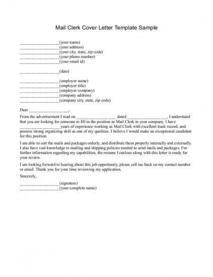 mail clerk cover letter sample COVER LETTER