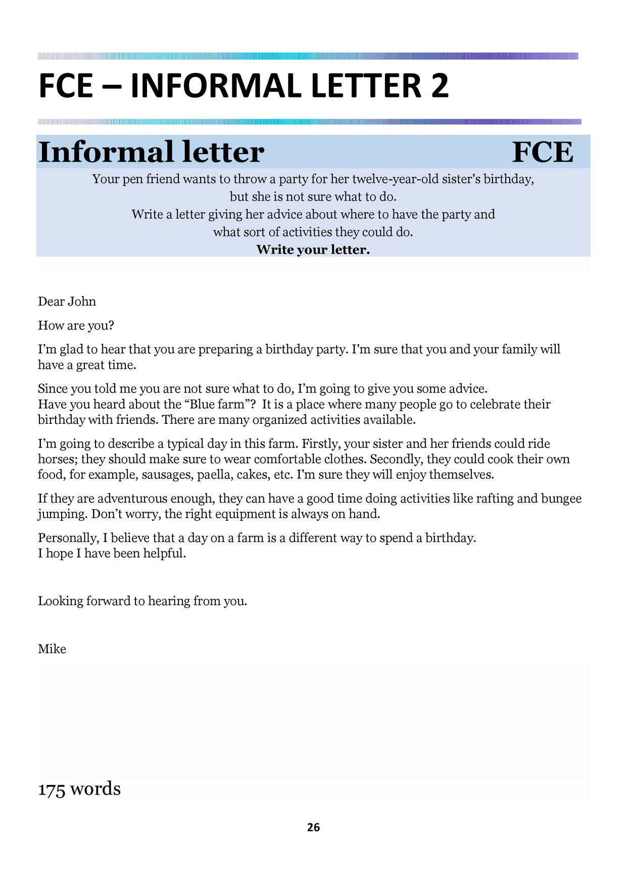 Fce cae real writing examples learn grammar pinterest english how to write informal letters in english with examples letterpile spiritdancerdesigns Images