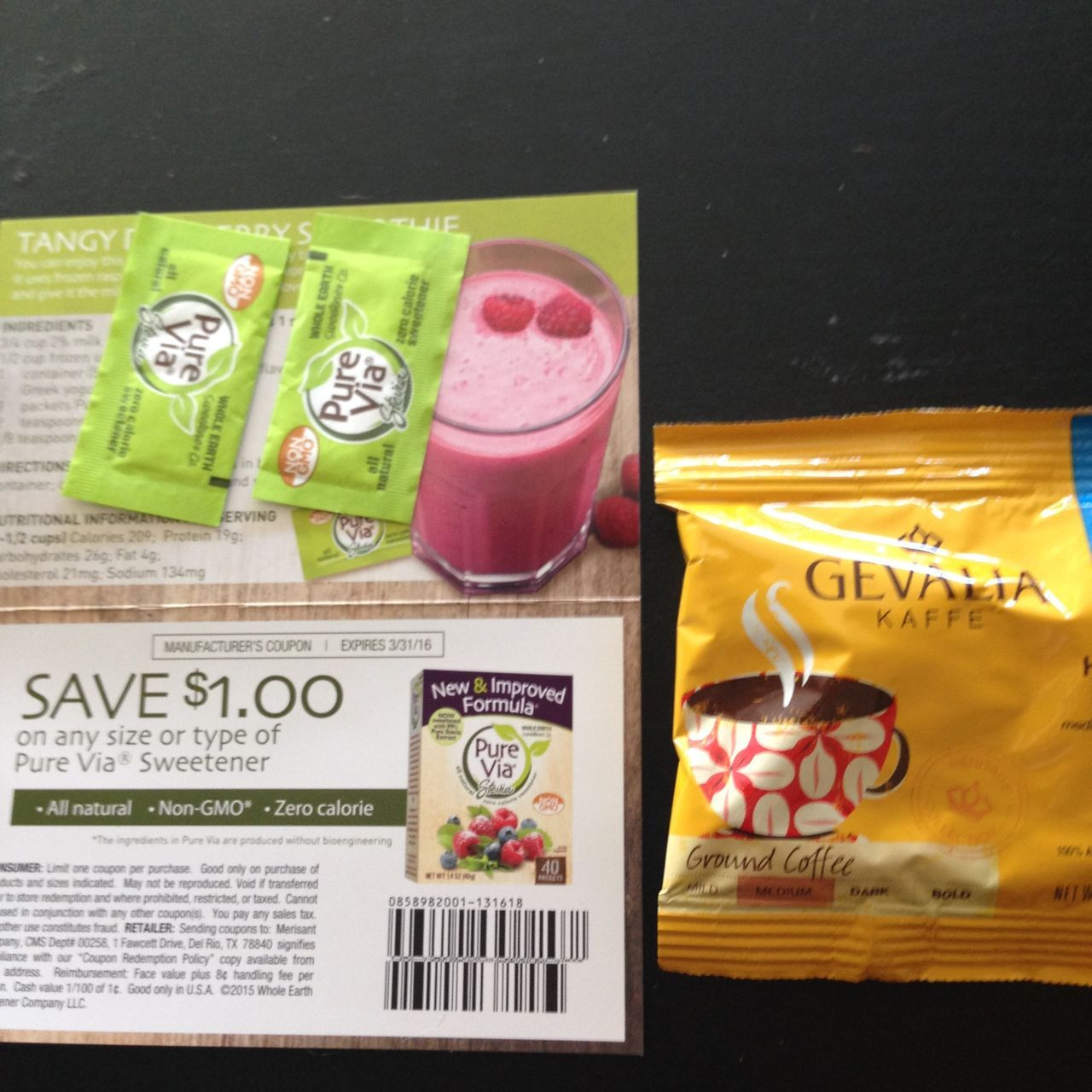 samples from Pinch Me: Pure Via and Gevalia #freestuff #freebies #samples #free