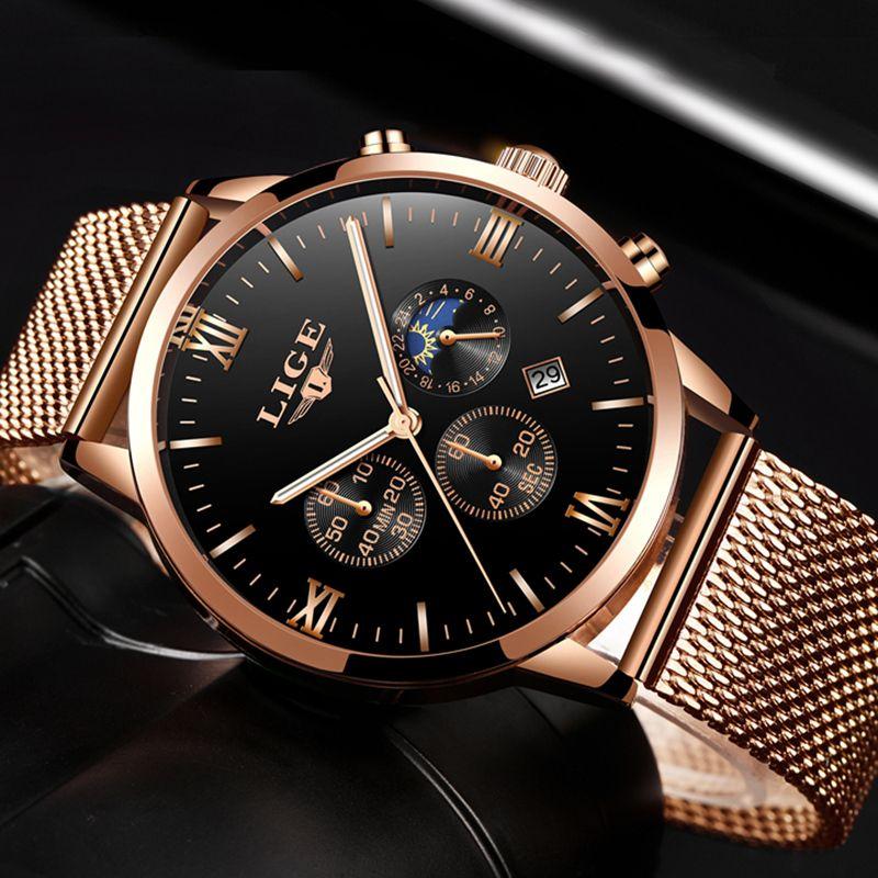 f05fc660f9b LIGE Mens Relógios Top Marca de Luxo de Ouro Relógio de Quartzo de Negócios  Homens Casuais