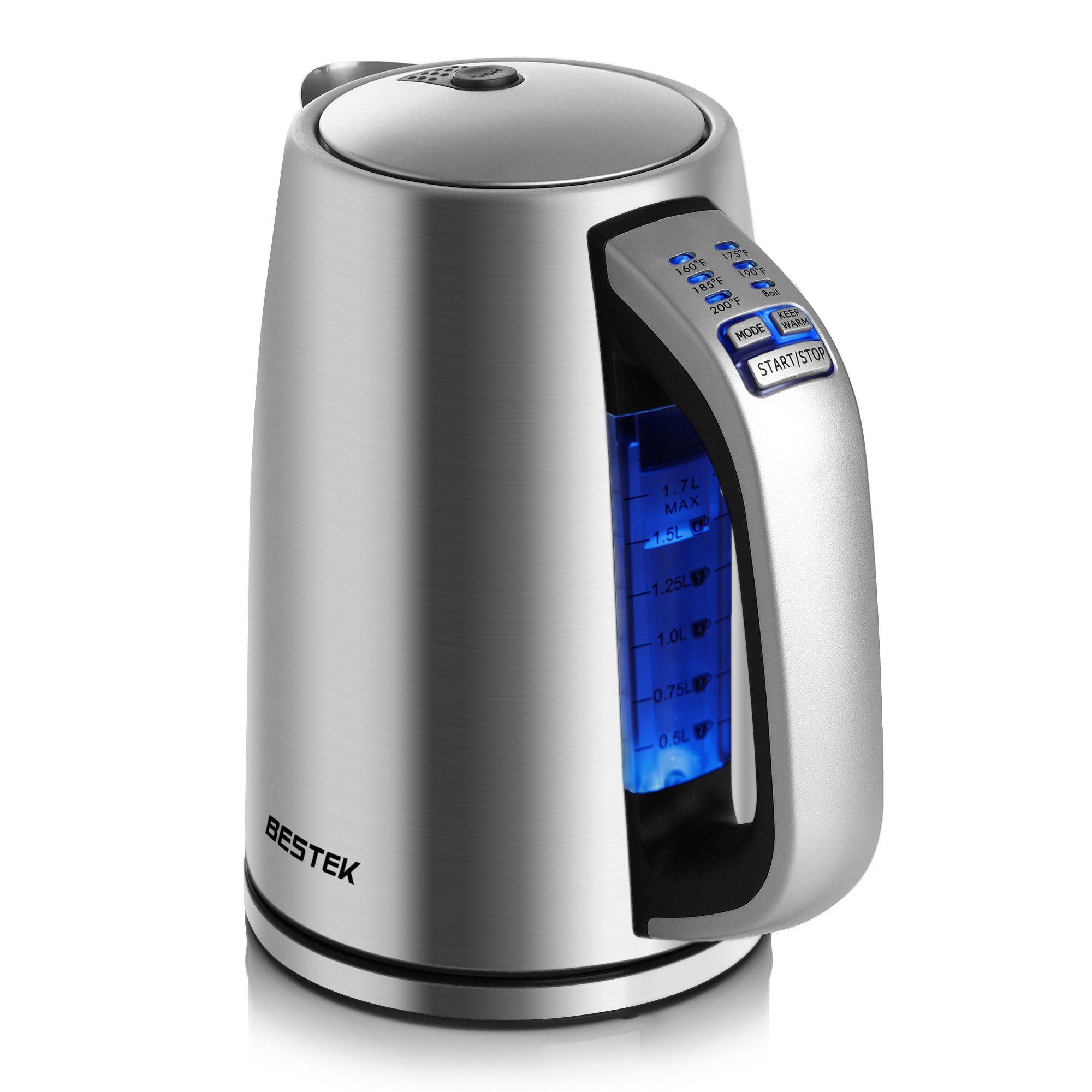 bestek electric kettle 1 7l stainless steel water boiler adjustable