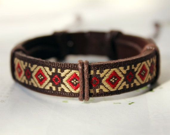 Fall Brown Leather Cuff with Pattern Cotton Cloth by Colourfashion, $3.50