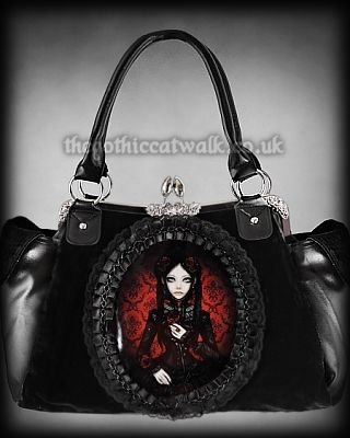 Gothic Doll Print Cameo Bag - Red